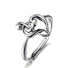 925 Sterling Silver Trend G Clef Bass Music Musical Note Heart Ring Adjustable