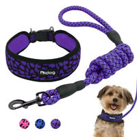 Soft Dog Collar and Leash Reflective Nylon Mesh Large Dog Walking Collar Lead