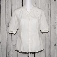 VINCE Women's Button Front Blouse Short Sleeve White Cotton Size 6