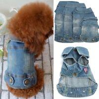 Puppy Dog Cat Jacket Soft Blue Jean Denim Pet Coat Cool Clothes Costume Apparel