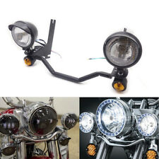 Black Fog Spotlight Passing Lamp Mount Turn Signal Light Bar For Harley Touring
