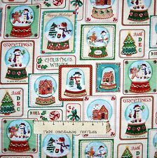 Christmas Fabric - Snowman Snowglobe Patch Cream - Benartex YARD