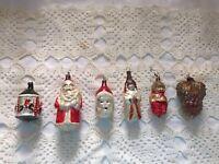 6 Antique Christmas Ornaments Glass Figural Santa Angel ++ Lot
