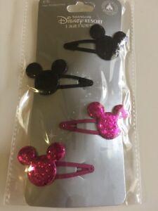 Disney Resort Shanghai Glitter Mickey Head Hair Accessories Set Of 4 NEW