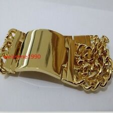 18k Gold Plated Stainless Steel ID Bracelet Huge Curb Chain For Men 22mm 8.66''