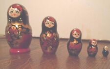 """Gorgeous Set Of 5 Russian Style Wood Nesting Dolls Figurines 3 1/2"""" -1"""", V. Good"""