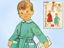 1950s Vintage Simplicity Sewing Pattern 2290 Easy Baby Girls Pajamas & Robe Sz 1