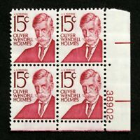 US Plate Blocks Stamps #1288 ~ 1968 OLIVER W. HOLMES 15c Plate Block of 4 MNH