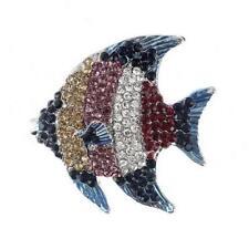 Card Angelfish Tropical Fish Pink Purple Crystal Silver Alloy Brooch 4.5x4cm