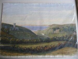 Interesting antique watercolour painting Welsh Castle Manorbier Pembrokeshire