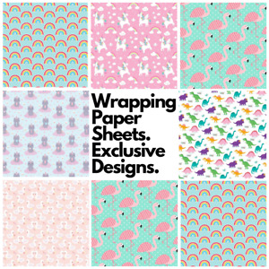 Wrapping Paper Gift Present Birthday Wrap Wedding Party Sheet 70cm x 49cm 80gsm