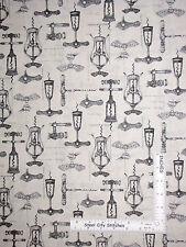 Wine Corkscrew Fabric - Wine Bottle Opener Robert Kaufman Vineyard #15428 - Yard