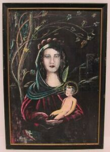 """1930s """"Our Lady of Divine Grace"""" by Mary Florence Curran Ink on Scratch Board"""