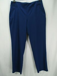 Chico's Zenergy Women's Size 2R L/12 Blue Pull On Pants Zippered Pockets Stretch