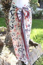 New Anchor Nautical Sheer Sarong Beach Cover-Up Shawl Scarf Skirt Dress Wrap