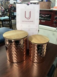 Uncommon James Hammered COPPER Canister Kitchen Storage Set 2 piece BRAND NEW