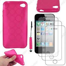 Coque SiliconeCercle Rose Apple iPhone 4S 4+Mini Stylet+3 Film écran