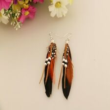 Tassel Style Dangling Earrings Feather Leather Beads Earrings Indian Feathers