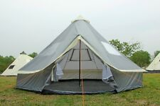 5M Bell Tent Zipped-in-Ground sheet Tent Family 10 Person Camping Tent grey