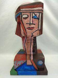 Vtg Italo Scanga Wood Head Cubist Face Geometric Brutalist Mcm Style Sculpture