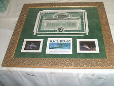 """Stock Titanic Common Capital 100 Shares # 5847 Framed Matted  20.5"""" L  23.5 """" W"""