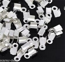 100 silver plated Necklace Tips folding Cord Crimp End Caps thong 1ST CLASS POST