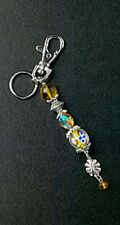 Key Chain Purse Charm Amber Crystal Flower Glass Bead Silver Ring Free Shipping