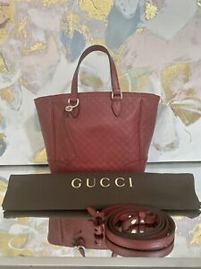 NEW GUCCI Micro Guccissima GG Bree Red Leather Tote Crossbody Bag