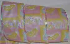 Wired Ribbon~Easter Egg~Bunny~Pink~Yellow~Blue~Almost 10 yd Roll~Wreath~Gift~Bow