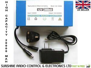 12v DC Battery Pack 20000 mAh Rechargeable Lithium Li-ion Portable Power Bank UK