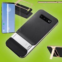 Standing Hybrid Tasche Silber für Samsung Galaxy S10 Plus + 4D H9 Curved Glas