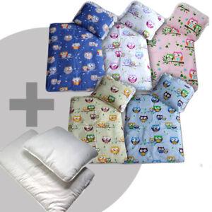 4 tlg. Set Bezug für Kinderwagen Garnitur Bettwäsche Decke+Kissen+Füllung EULEN