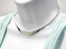 Solid 925 Sterling Silver Polish Round Graduating flat Choker Collar Necklace