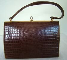 15eeb5b3b1d2 Vintage 50s 60s Maclaren brown leather mock croc structured kelly handbag  bag