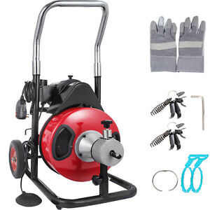 VEVOR Drain Auger Pipe Cleaner 370W Cleaning Machine 1750r/min Snake Sewer