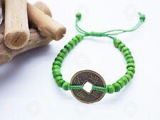 Green Feng Shui Bracelet Bali Talisman Good Luck Chinese Coin Yoga Amulet Love