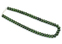 ROUND SHAPE 765.15 CTS EARTH MINED GREEN GARNET FACETED BEADS NECKLACE (RS)