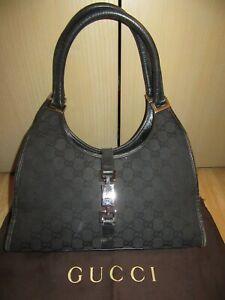 Womens GUCCI Black GG Pattern Vintage Retro Tote / Shoulder Bag +Dust bag GREAT!