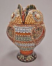 Rare ROYAL DOULTON Lambeth Owl Tobacco Jar w/Lid ca.1880 Martin Brothers Style