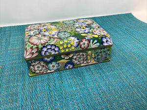 ANTIQUE CHINESE CLOISONNE Style Painted  ENAMEL FLORAL  BOX HINGED LID Tc4