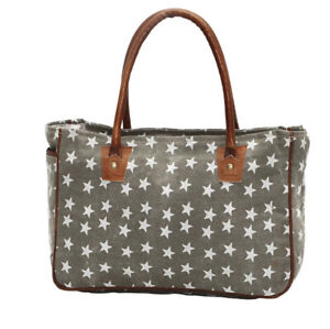 Myra Bag Freedom Of Star Small Tote Bag Brown Canvas Leather