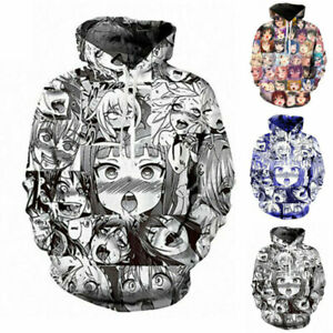 Ahegao Anime Face Hentai Manga Men 3D Hoodie T Shirt Sweatshirt Jumper Jogger