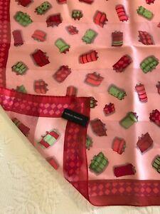 "Adrienne Vittadini 100% Silk Scarf, Christmas Presents Pink Red Green 21"" x 21"""