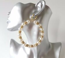 Gorgeous 8cm large gold tone - diamante & pearl CLIP - ON hoop drop earrings