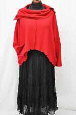 Lagenlook short Balloon Jersey Sweater Carmen Collar Tab-Button Check-Xxl, XXXL