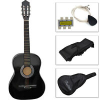 New Beginners Acoustic Guitar with Guitar Case, Strap, Tuner and Pick Black