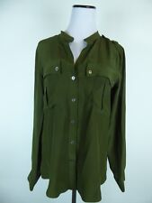 ELIZABETH AND JAMES OLIVE DARK GREEN 100% SILK BANDED COLLAR TUNIC SHIRT TOP S