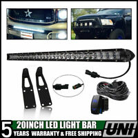 20Inch 100w Led Light Bar Hidden Bumper Mount Bracket Fit Dodge RAM 2500/3500