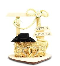 fd54dda3d8ffb8 Gettin Hitched Wedding Western Theme Cake Topper Country Rope Hay Bale Heart