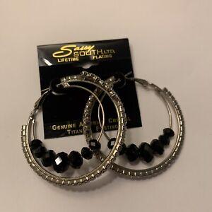 Silver Tone Hoop Earrings Pierced NWT Genuine Austrian Crystal Titanium Plating